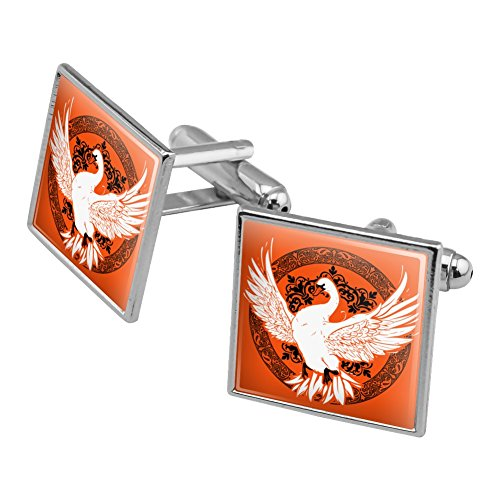 Graphics and More Swan on Fancy Floral Circle Square Cufflink Set Silver Color (Square Circle Link)