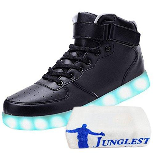 (Present:kleines Handtuch)JUNGLEST® 7 Farbe USB Aufladen LED Leuchtend High-Top Sport Schuhe Sportschuhe Sneaker Turnschuhe für Unis Schwarz