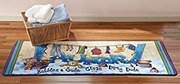 Extra Long Colorful Laundry Bubbles and Suds Floor Runner, Multi