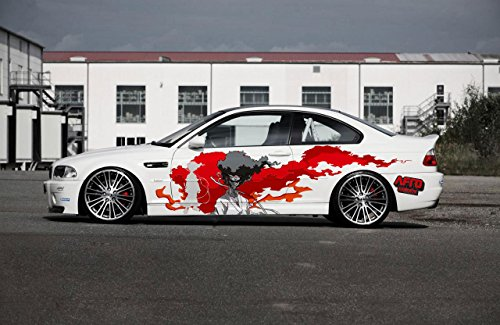 Amazon com full color car auto vinyl decal art afro samurai blood sun both sides va3 sports outdoors