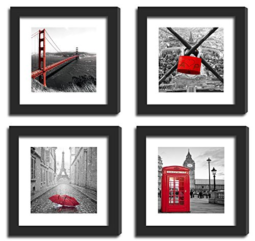 4Pcs 11x11 Real Glass Wood Frame Black , 2 Kind Matted Fit 8x8 4x4 inch Family Photo Pictures Image Desktop Stand or Wall Hang London Black White Red City Combine Square Mat Family Decoration (1-4)