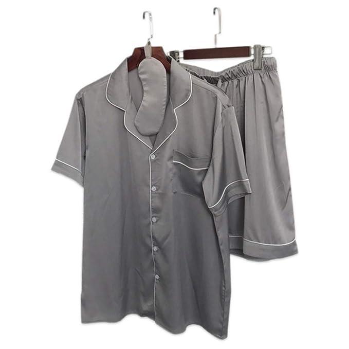 Meaeo Verano Satin Hombres Pijamas Cortos Conjuntos De Manga Corta Mens Pijamas Masculinos Satins Seda Homewear