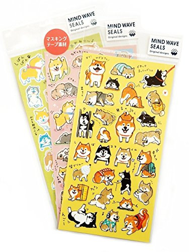 Mind Wave Japanese Washi Shiba Inu Sticker Sheets / Pack of 3 / 82 Stickers
