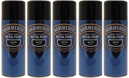 Hammerite Aerosol (5x Hammerite Satin Black Metal Spray Paint 400ml Aerosol Tins x5 by Hammerite)