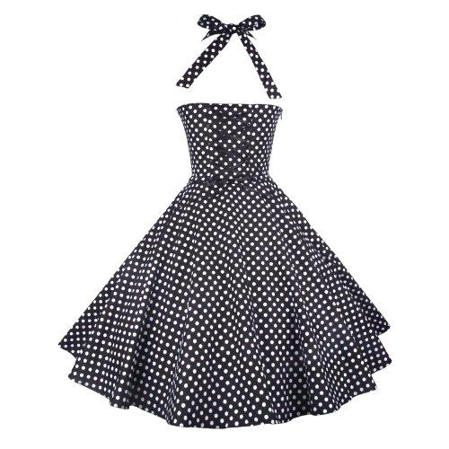 50 Vestido Negro nbsp;rockabilly Lunares Años Mujeres De Blanco Maggie Vintage Circle Tang Full WcfOxR1
