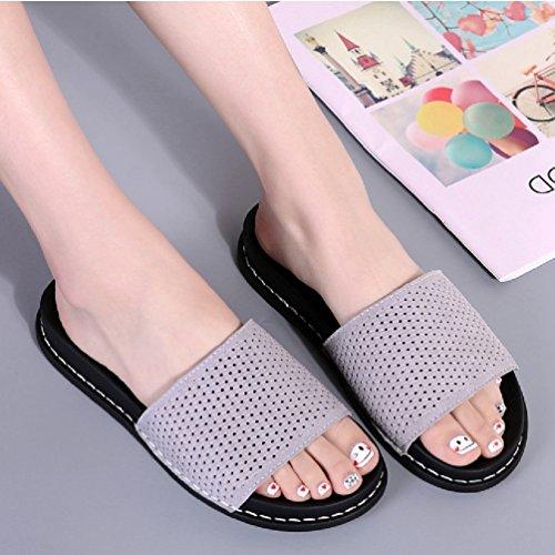 Claquette Slipper Fausse Antidérapante Souple Plat Flip Tissage Flop Gris Mules Sandales Microfibre Fourrure Pantoufles Femmes dUvqnfwp