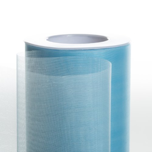 Koyal Wholesale 25-Yard Sheer Organza Fabric Roll, 6-Inch, Light Blue