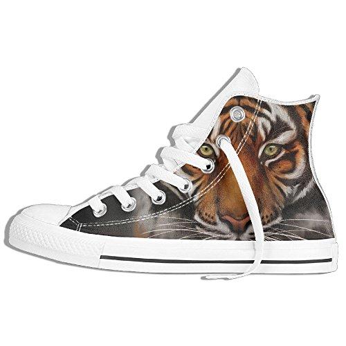 Classiche Sneakers Alte Scarpe Di Tela Anti-skid Tiger Wildlife Casual Da Passeggio Per Uomo Donna Bianco