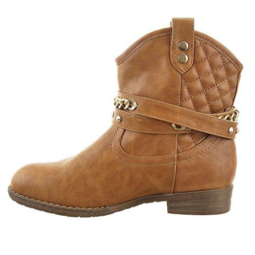 Sopily - Scarpe da Moda Stivaletti - Scarponcini Western Santiags - Cowboy Low boots alla caviglia donna trapuntata Catena borchiati Tacco a blocco 2.5 CM - soletta tessuto - Cammello