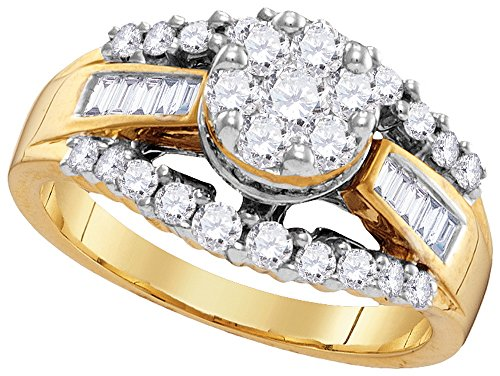 Set Baguette Diamond Wedding Band - Size - 9 - Solid 14k Yellow Gold Round Baguette White Diamond Engagement Ring OR Fashion Band Channel Set Flower Shaped Ring (1.02 cttw)