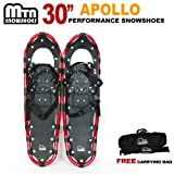 New MTN 30 Man Woman Kid Teen Snowshoes up to 255 lbs /Free Bag (Red) by MTN Snowshoes