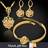 GDSTAR Vintage Infinity Rose Cubic Zircon Earrings Pendant Bracelet Set 18K Real Gold Plated Fashion Jewelry Sets For Women