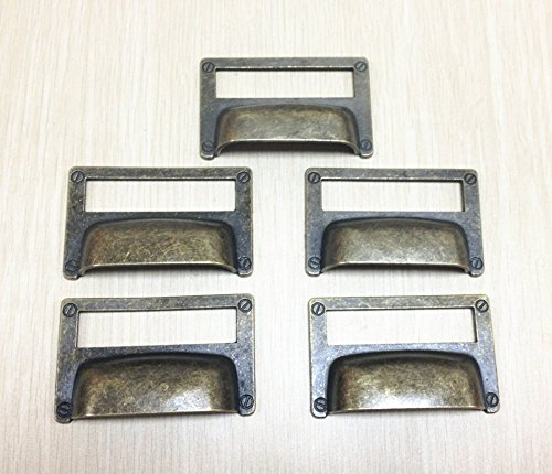 WEICHUAN 5 Pieces 81mm52mm Card Holder Drawer Pull/Label Frames Card/Label Holder/Tag Pull/Cabinet Frame Handle/File Name Card Holder - Metal Art Bronze Tone with screws
