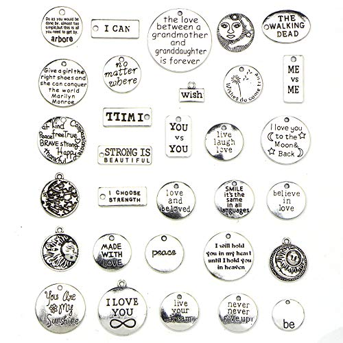 31 PCS Inspiration Word Charms Collection - Antique Silver Round Rectangle Inspiration of The Words, Metal Pendants for for Necklace, Bracelet, Craft Jewelry Making DIY Findings