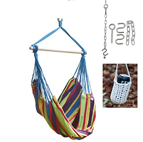 Large Blue Stripe Brazilian Hammock Swing Chair - With Hanging Hooks Hardware and Free Handcrafted Drink Holder
