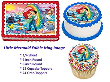 Little Mermaid Edible Cake Topper Decoration Little Mermaid Cupcake