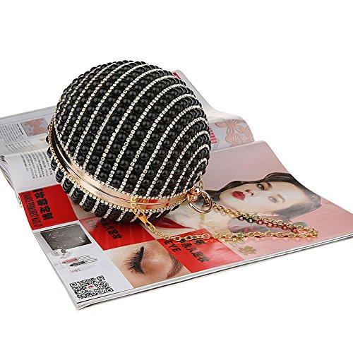 Clutch 2Archer Evening Bag Women's Shape Bling Rhinestone Genda Black Round Pearl CBfnxF