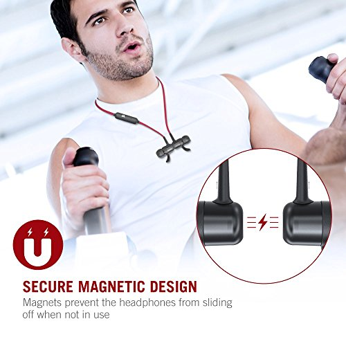Large Product Image of Bluetooth Headphones TaoTronics Wireless Earbuds Sport Earphones 9 Hours 4.2 Magnetic Lightweight & Fast Pairing (cVc 6.0 Noise Cancelling Mic, Snug Silicon Earbuds, Magnetic Design) Red