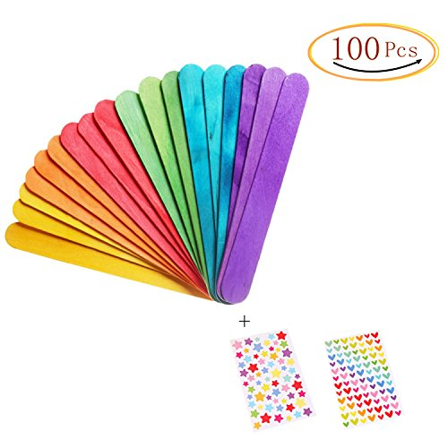 Colored Craft Stick Natural Jumbo Wood Popsicle Sticks For Diy Crafts Creative Designs 100 PCS 6 Inches (Sticks Colored)