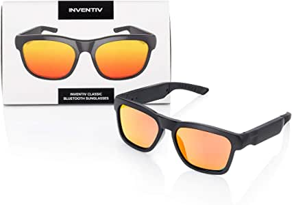Inventiv Wireless Bluetooth Audio Sunglasses, Open Ear Headphones Music & Hands-Free Calling, for Men & Women, Polarized Glasses Lenses (Black Frame/Red Tint)