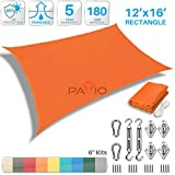 Patio Paradise 12' x 16' Sun Shade Sail with 6 inch Hardware Kit, Orange Rectangle Patio Canopy Durable Shade Fabric Outdoor UV Shelter Cover - 3 Year Warranty - Custom Size Available