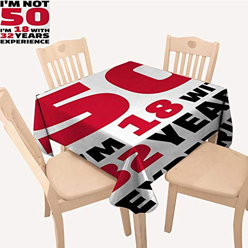 Amazon.com: PriceTextile 50th Birthday Tassel Tablecloth