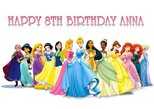 Princess Disney Birthday Cake Personalized Cake Toppers Edible Frosting Photo Icing Sugar Paper A4 Sheet 1/4 (Disney Princess Icing)