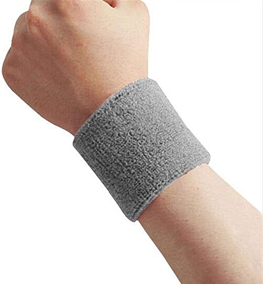 Blk Terry Cloth Cotton Wrist Sweatband For Tennis Basketball Yoga Gym Sport