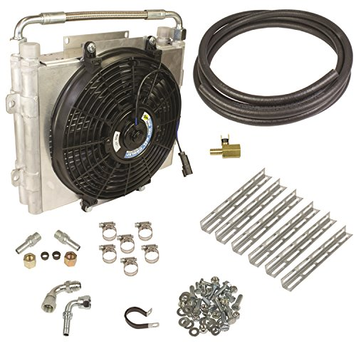 BD Diesel 1030606-DS-12 Xtrude Double Stacked Auxiliary Transmission Cooler Kit 1/2 in. Tubing Incl. Cooler/Bracket/Wiring Harness/Fittings/Temp Sensor/Sensor Adapter/Hardware Xtrude Double Stacked Auxiliary Transmission Cooler Kit