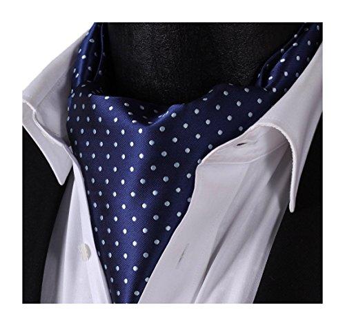 Silk Ascot (SetSense Men's Polka Dot Jacquard Woven Self Cravat Tie Ascot One Size Navy Blue / Silver)