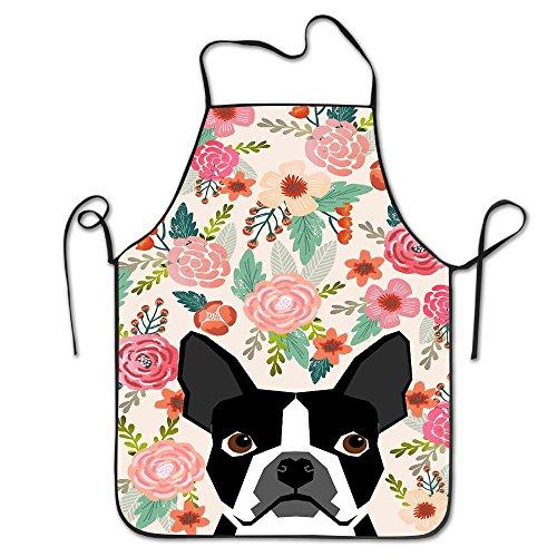 Boston Terrier Florals Unisex Cooking Kitchen Aprons Chef Apron Bib