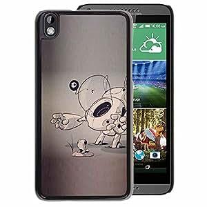 A-type Arte & diseño plástico duro Fundas Cover Cubre Hard Case Cover para HTC DESIRE 816 (Dog Puppy Sketch Grey Artist Art Cartoon)