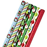 Hallmark Christmas Wrapping Paper Bundle with Cut Lines on Reverse, Modern (Pack of 6, 180 sq. ft. ttl.)