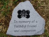 Pet Memorial Stone with Engraved Bone Tag-Deluxe, My Pet Supplies
