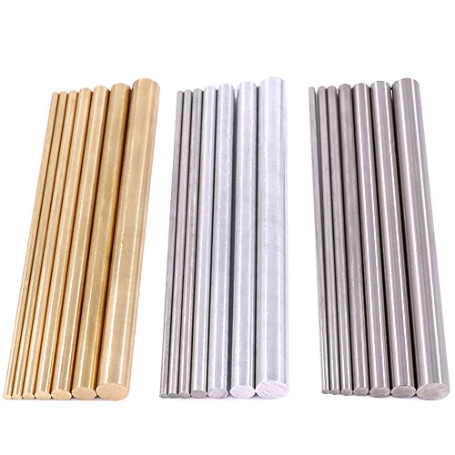 - Glarks 21pcs 3 Sets of Metals Round Rod Lathe Bar Stock for DIY Craft Tool, Diameter 2mm - 8mm, Length 100mm, Metals Include Brass, Stainless Steel, Aluminum