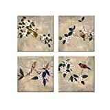 Dzhan Wall Art Canvas Prints Oil Paintings the Bird of 4 Pack Artwork for Living Room Home Decor 13''x13