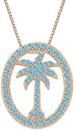KATARINA Peridot Gemstone Palm Tree Pendant Necklace in Gold or Silver 1//2 cttw