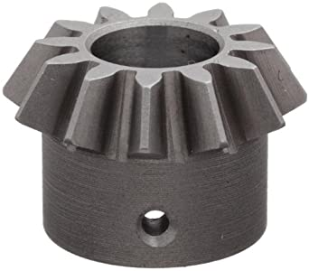 """Boston Gear HL148Y-P Bevel Pinion Gear, 2:1 Ratio, 0.375"""" Bore, 16 Pitch, 12 Teeth, 20 Degree Pressure Angle, Straight Bevel, Keyway, Steel with Case-Hardened Teeth"""