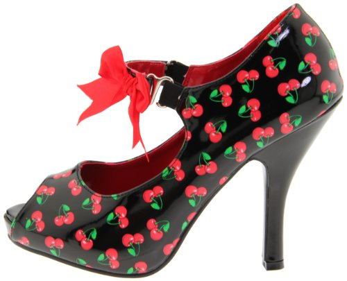 Print Pat Mujer Tacón Couture De Blk red Zapatos cherries Pinup p7wOSWqw