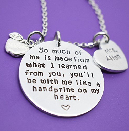 Personalized Teacher Necklace Teacher Gift Teacher Appreciation Gift For New Teacher Gift For Teacher Graduation