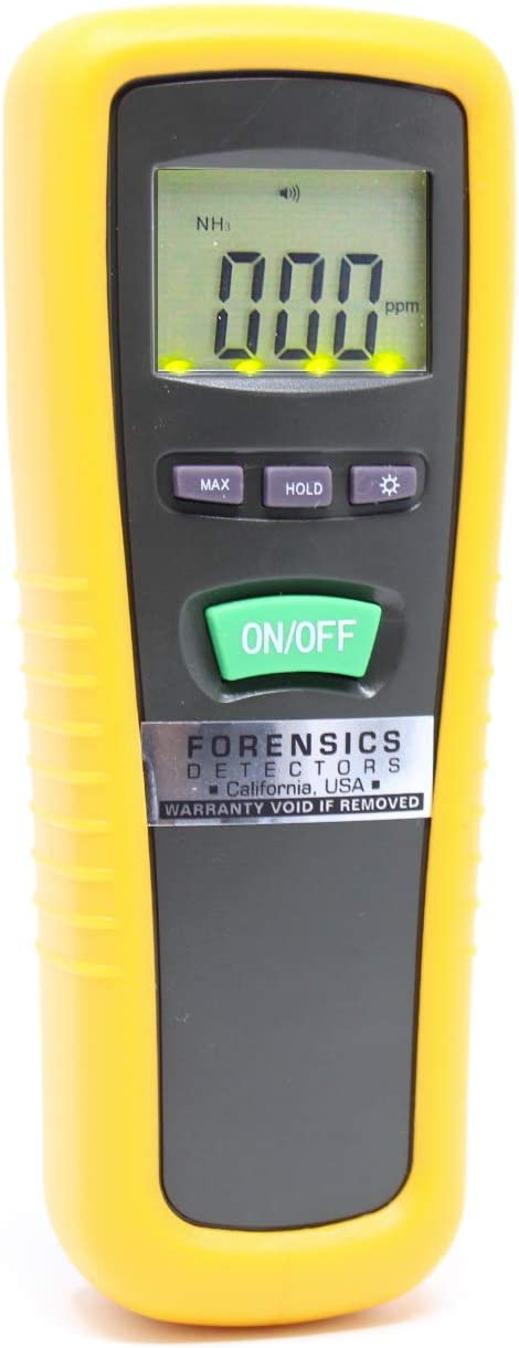 Basic Ammonia Meter by FORENSICS | 0-1000ppm with 1ppm resolution & error <5ppm | Farm & Livestock | Soft Touch Rubber Grip | Large Display & Backlight |