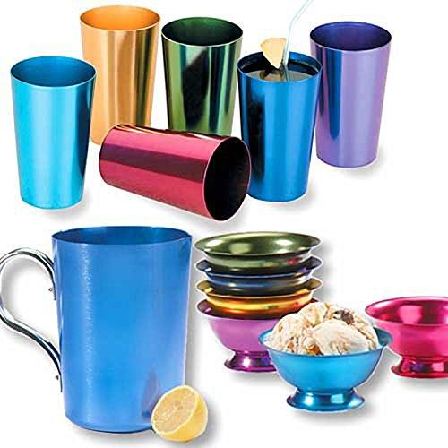 RETRO ALUMINUM TUMBLERS NON BREAKABLE CUPS SET OF 6 (Aluminum Cups Tumbler)