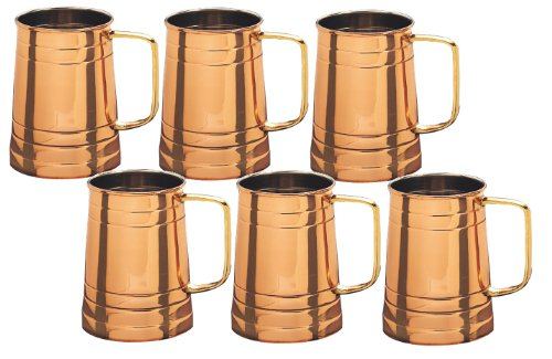 Old Dutch Solid Copper Beer Stein, Set of 6, 1 Pint by Old Dutch