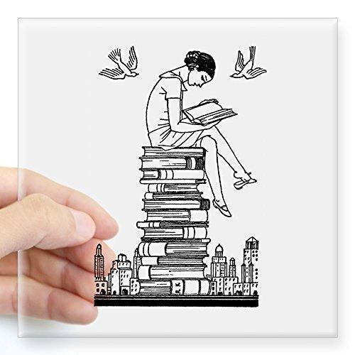 (CafePress Reading Girl ATOP Books Square Sticker 3 X 3 Square Bumper Sticker Car Decal, 3