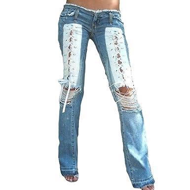 fe4d89f22e99 Juleya Pantalon Large Femme Taille Basse Jean Trou Brisé Laçage Impression  Mode Femme Micro Pantalon Bas Pantalon Long Sexy D Été Bleu Rose   Amazon.fr  ...