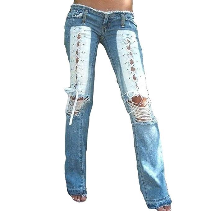 5db0bc9d0e150 Pantalones Pierna Ancha Cintura Baja Mujer Pantalones Vaqueros Rotos Pantalones  Campana Micro Moda Mujer Impresión Cordones Largos Pantalones Pink Blue ...