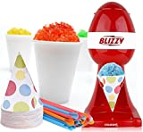 BLIZZY Snow Cone Maker Set | Includes: (1) Blizzy Electric Ice Shaver (20) 6 oz. Paper Cone Cups (20) Plastic Straws