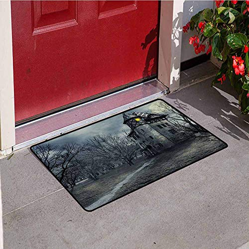 Jinguizi Halloween Universal Door mat Halloween Design with Gothic Haunted House Dark Sky and Leafless Trees Spooky Theme Door mat Floor Decoration W15.7 x L23.6 Inch Teal -