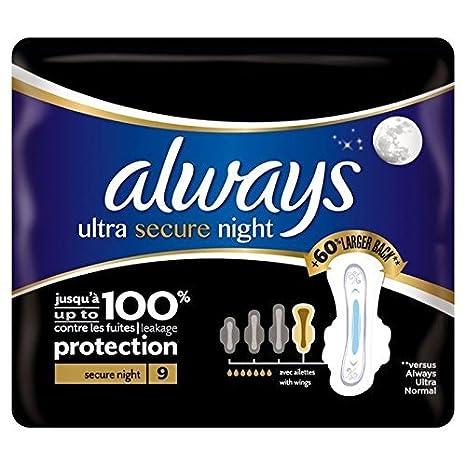 Siempre Toallas Sanitarias Noche Seguro Ultra-Con Alas Paquete De 9 Individuales Por Paquete (