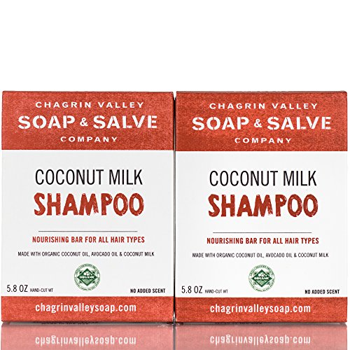 Apple Coconut Shampoo - Organic Natural Shampoo Bar, Coconut Milk 2X Pack, Chagrin Valley Soap & Salve
